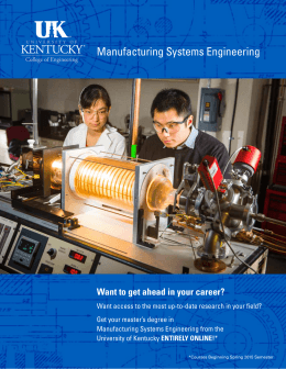 Manufacturing Systems Engineering Want to get ahead in your career?