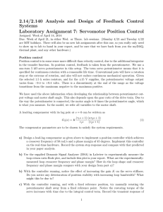 2.14/2.140  Analysis  and  Design  of ... Systems Laboratory Assignment 7:  Servomotor Position Control
