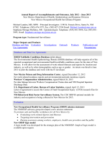 Annual Report of Accomplishments and Outcomes, July 2012 – June... New Mexico Department of Health, Epidemiology and Response Division