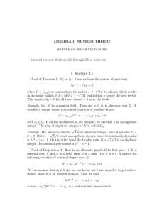 ALGEBRAIC  NUMBER  THEORY 1.  Section  2.1