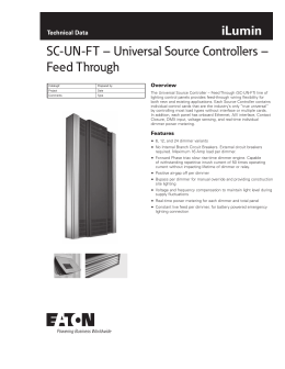 SC-UN-FT – Universal Source Controllers – Feed Through iLumin Technical Data