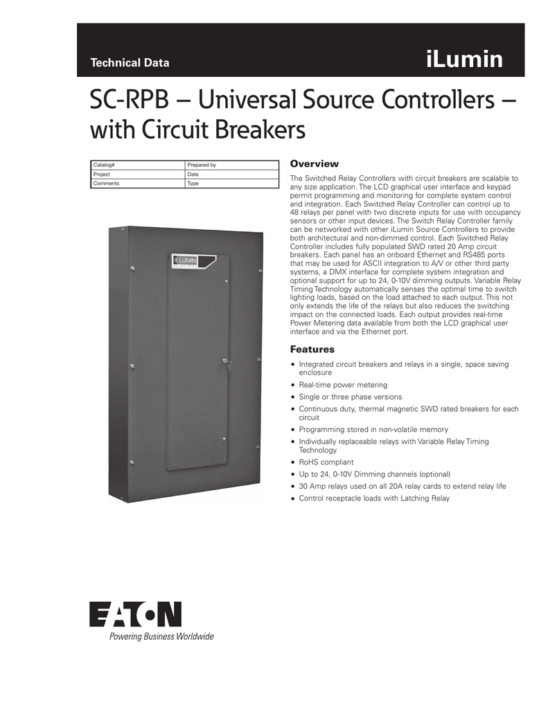 Sc Rpb Universal Source Controllers With Circuit Breakers Ilumin Pic Programmer Technical Data