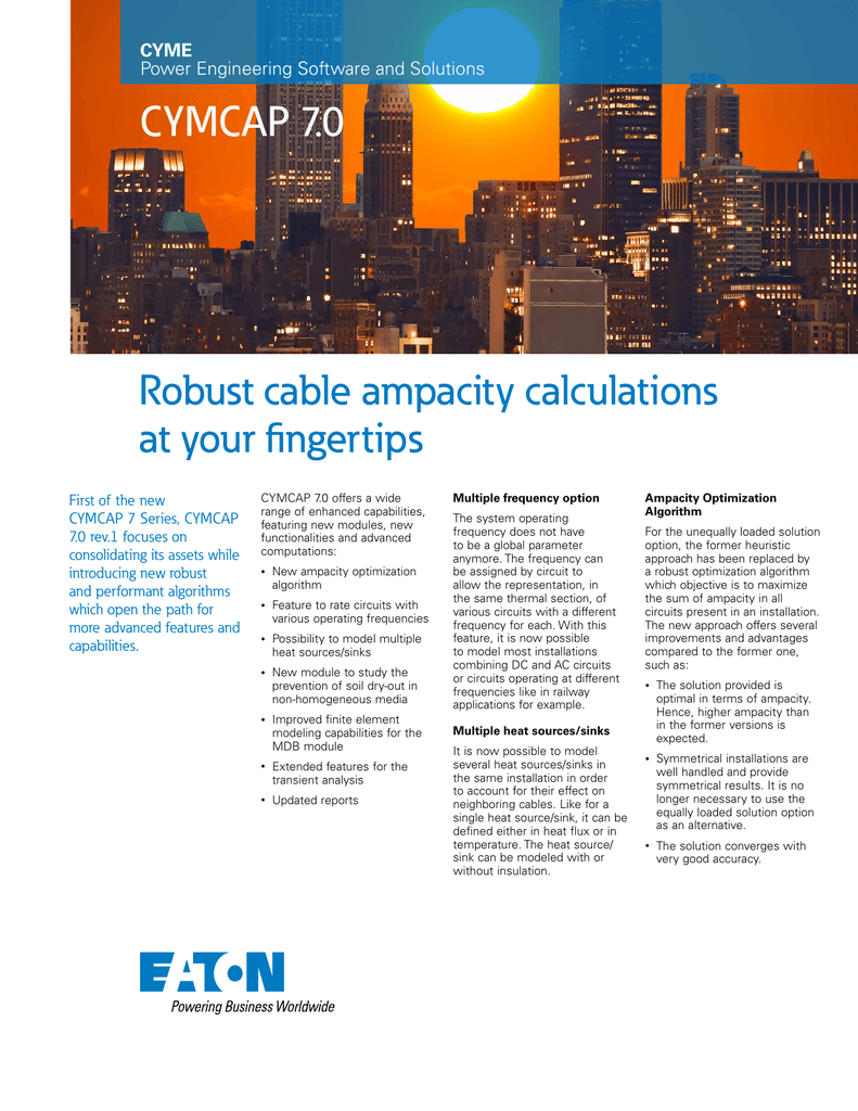 Robust cable ampacity calculations at your fingertips CYMCAP