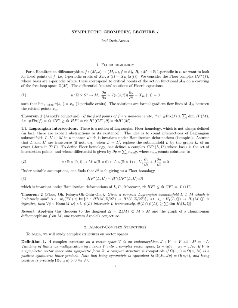 SYMPLECTIC GEOMETRY, LECTURE 7 →