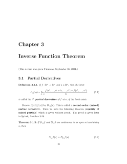 Chapter 3 Inverse Function Theorem 3.1 Partial Derivatives