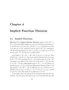 Chapter 4 Implicit Function Theorem 4.1 Implicit Functions