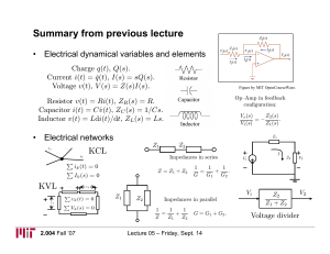 Summary from previous lecture • Electrical dynamical variables and elements