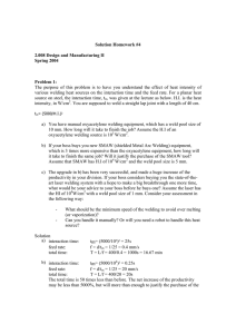 Solution Homework #4 2.008 Design and Manufacturing II Spring 2004 Problem 1: