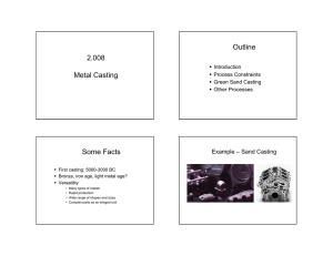 2.008 Metal Casting Outline Some Facts