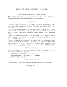 PROOF OF THUE'S THEOREM – PART III Theorem 1.1. p