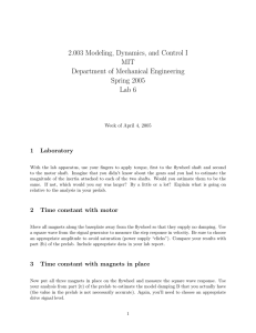 2.003 Modeling, Dynamics, and Control I MIT Department of Mechanical Engineering Spring 2005
