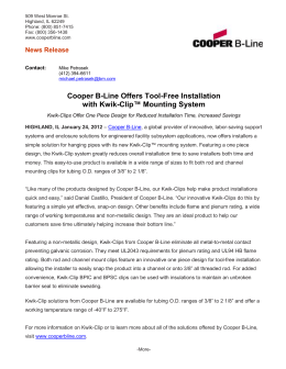 Cooper B-Line Offers Tool-Free Installation Clip™ Mounting System with Kwik- News Release
