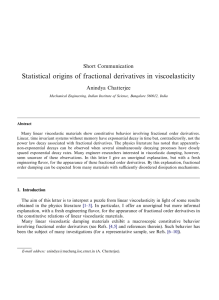 Statistical origins of fractional derivatives in viscoelasticity ARTICLE IN PRESS Short Communication