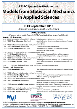 Models from Statistical Mechanics in Applied Sciences 9-13 September 2013