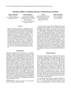 Eliciting Utilities by Refining Theories of Monotonicity and Risk Angelo Restificar