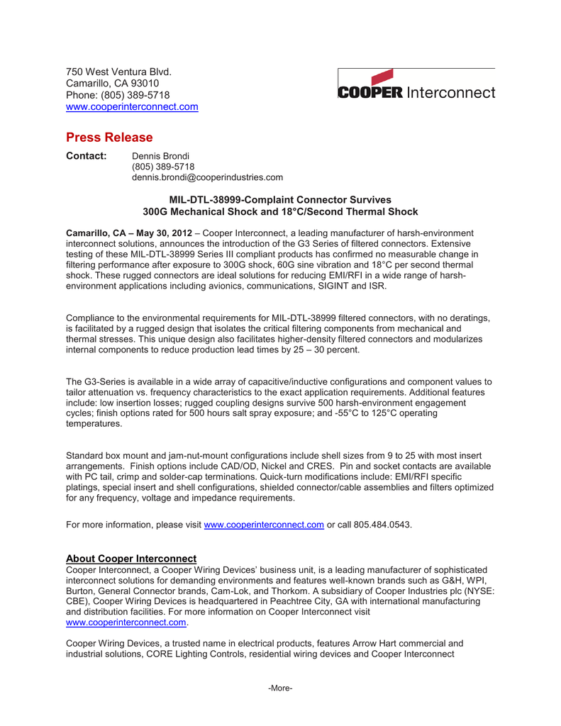 Press Release Arrow Hart Wiring Devices