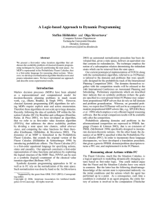 A Logic-based Approach to Dynamic Programming Steffen H¨olldobler