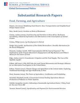 Substantial Research Papers Food, Farming, and Agriculture