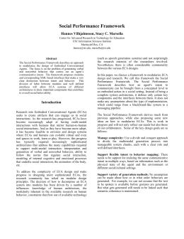 Social Performance Framework Hannes Vilhjalmsson, Stacy C. Marsella