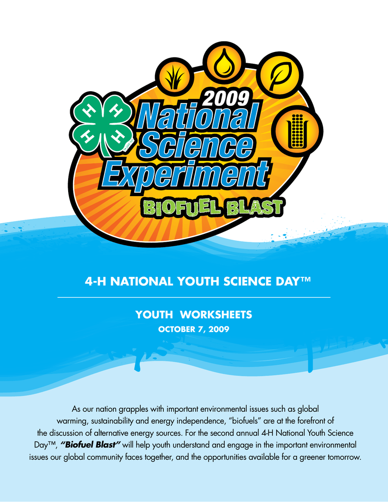 4-H NatioNal YoutH ScieNce DaY™ YoutH WorkSHeetS