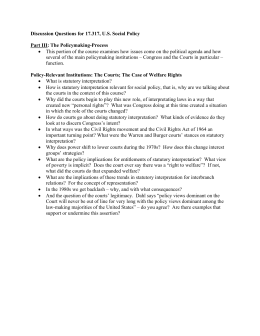 Discussion Questions for 17.317, U.S. Social Policy  Part III: The Policymaking-Process
