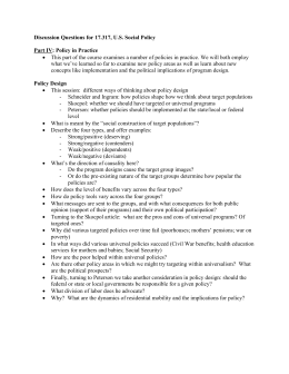Discussion Questions for 17.317, U.S. Social Policy