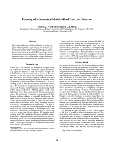 Planning with Conceptual Models Mined from User Behavior