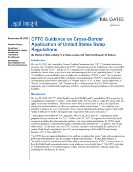 CFTC Guidance on Cross-Border Application of United States Swap Regulations