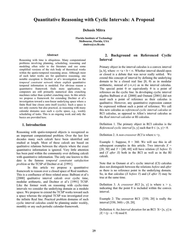 Quantitative Reasoning with Cyclic Intervals: A Proposal