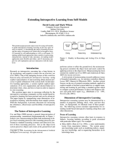 Extending Introspective Learning from Self-Models David Leake and Mark Wilson