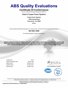 ABS Quality Evaluations Certificate Of Conformance Eaton's Cooper Power Systems Cooper Power Systems
