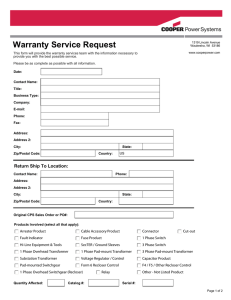 Warranty Service Request