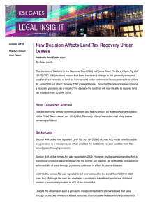 New Decision Affects Land Tax Recovery Under Leases