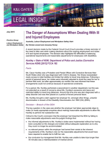 The Danger of Assumptions When Dealing With Ill and Injured Employees