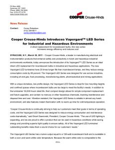 Cooper Crouse-Hinds Introduces Vaporgard™ LED Series for Industrial and Hazardous Environments
