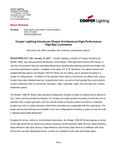 Cooper Lighting Introduces Shaper Architectural High-Performance High-Bay Luminaires News Release
