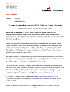 Cooper Crouse-Hinds Unveils 2010 Full Line Product Catalog News Release