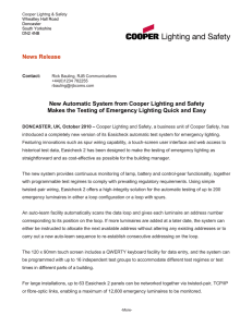 News Release New Automatic System from Cooper Lighting and Safety