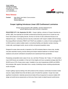 Cooper Lighting Introduces Linear LED Confinement Luminaires News Release