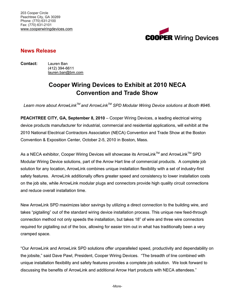 Cooper Wiring Devices to Exhibit at 2010 NECA News Release