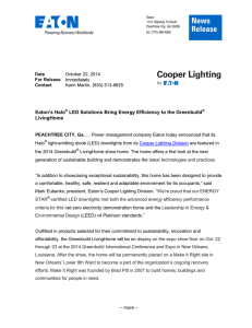 Eaton's Halo LED Solutions Bring Energy Efficiency to the Greenbuild LivingHome