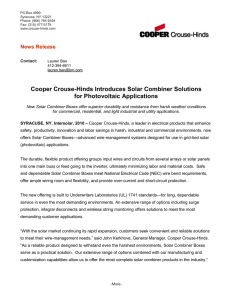 Cooper Crouse-Hinds Introduces Solar Combiner Solutions for Photovoltaic Applications News Release
