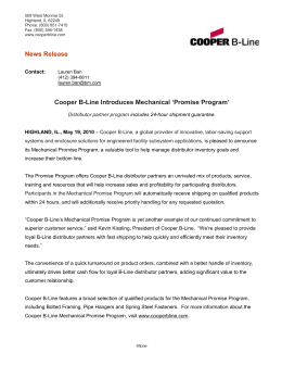 News Release 'Promise Program' Cooper B-Line Introduces Mechanical