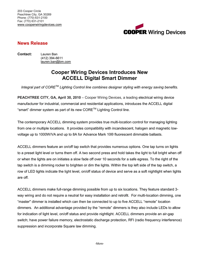 Cooper Wiring Devices Introduces New ACCELL Digital Smart ... on plantronics devices, pass & seymour, xbee devices, cooper lighting, cable management devices, hubbell twist lock devices, pinout electrical devices, lithonia lighting,
