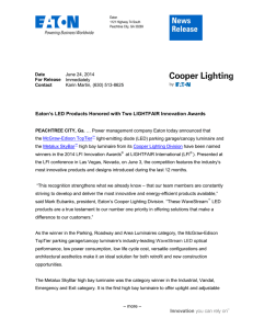 Eaton's LED Products Honored with Two LIGHTFAIR Innovation Awards