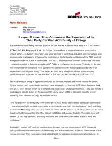 Cooper Crouse-Hinds Announces the Expansion of its  News Release