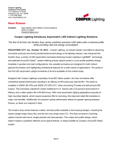 News Release Cooper Lighting Introduces Asymmetric LED Indirect Lighting Solutions