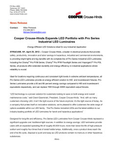 Cooper Crouse-Hinds Expands LED Portfolio with Pro Series Industrial LED Luminaires
