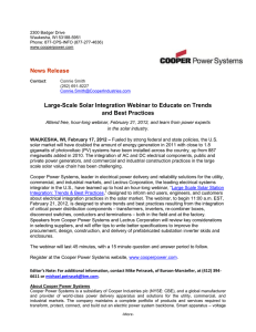 News Release  Large-Scale Solar Integration Webinar to Educate on Trends
