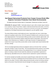 Hot Dipped Galvanized Products from Cooper Crouse-Hinds Offer